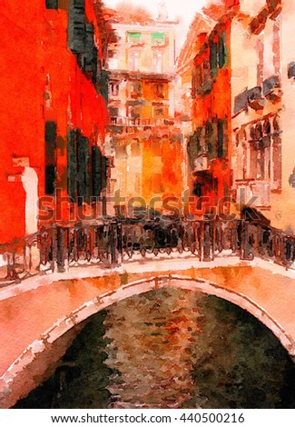 Beautiful Painting of the Famous bridge of Sighs