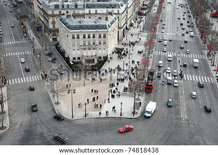 beautiful panorama from Arc de Triomphe, Champs-Elysees at winter in Paris, France - stock photo