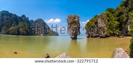 Beautiful panorama of James Bond island in Phang Nga bay near Phuket, Thailand - stock photo