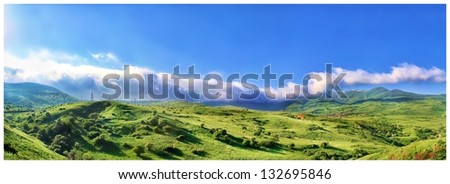 beautiful panorama of mountains, Nature background - stock photo