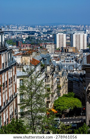 Beautiful Panorama of Paris and the buildings of Montmartre. Paris, France. - stock photo