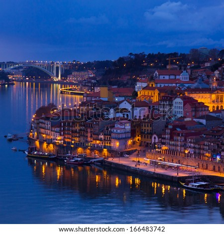 beautiful panorama of Ribeira and Douro river Porto at sunset, Portugal - stock photo
