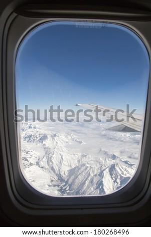 Beautiful panorama of  the Swiss Alpine mountians - stock photo