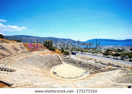 Beautiful panorama oil painting from Bodrum ancient theater - stock photo