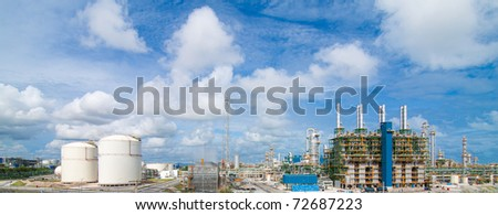 Beautiful panorama view of the Polyethylene plant in the industrial park - stock photo