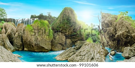Beautiful panoramic landscape view of wild forest and waterfall, Dalat, Vietnam - stock photo