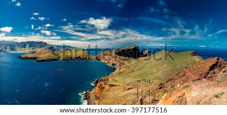 beautiful panoramic view at Ponta de Sao Lourenco - the most easterly point of Madeira, Portugal  - stock photo