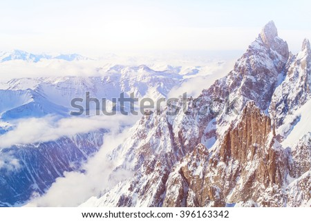 beautiful panoramic view of Alps, landscape of Mont Blanc range seen from Punta Helbronner - stock photo