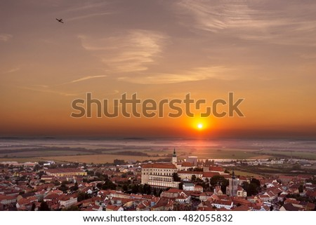 Beautiful panoramic view of Mikulov town, South Moravia region, Czech Republic, colorful sunset