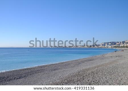Beautiful panoramic view of Monaco beach - stock photo