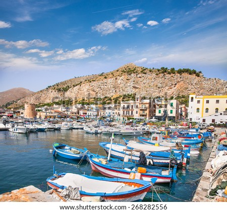 Beautiful panoramic view of Mondello port in Palermo, Sicily. Italy. - stock photo