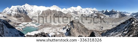 Beautiful panoramic view of Mount Cho Oyu and Cho Oyu base camp near mountain lakes, Everest, Lhotse, Ngozumba glacier and Gyazumba glacier - Sagarmatha national park, Khumbu valley, Nepal
