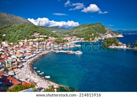 Beautiful panoramic view of Parga port and houses colors, Greece. - stock photo