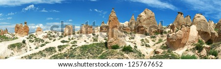 Beautiful panoramic view of the Cappadocia mountains. - stock photo