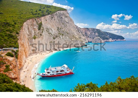 Beautiful panoramic view on  turquoise Katsiki beach, Lefkada, Greece. - stock photo