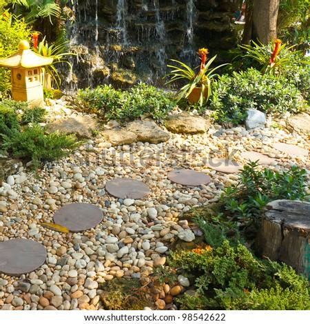 Beautiful park garden in spring - stock photo