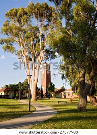 Beautiful park in perth in the evening sun. - stock photo