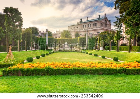 Beautiful park in Vienna Austria and sunlight