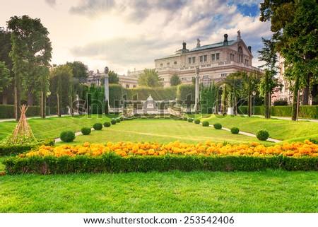 Beautiful park in Vienna Austria and sunlight - stock photo