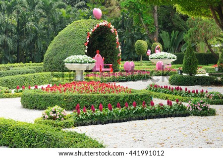 Beautiful park with bower and nice walkway, romantic place