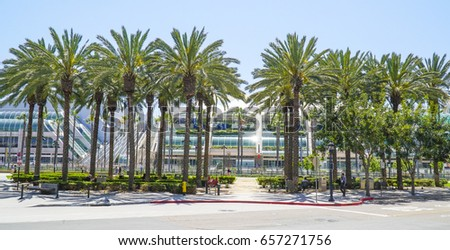 Beautiful park with Palm Trees at San Diego Convention Center - SAN DIEGO / CALIFORNIA - APRIL 21, 2017