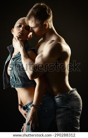 Beautiful passionate couple in love. Love concept. - stock photo