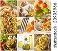 beautiful pasta collage made from nine photographs - stock photo