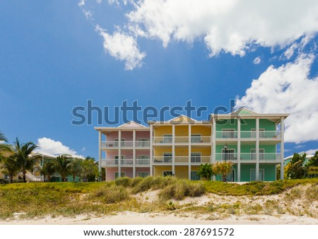 Beautiful pastel - colored houses on a seaside - stock photo
