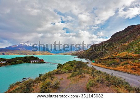 Beautiful Patagonia. Park Torres del Paine in southern Chile. Island on Lake Pehoe - stock photo