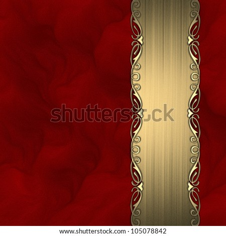 Beautiful pattern on a gold plate on a red background - stock photo