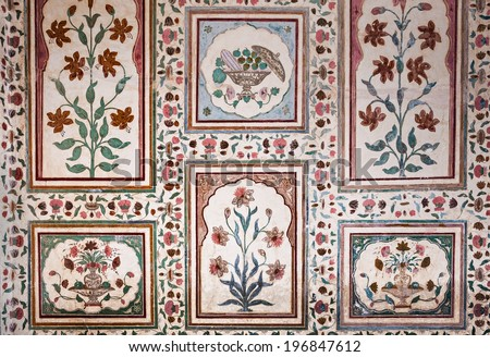 Beautiful pattern on the palace wall, Jaipur, India - stock photo