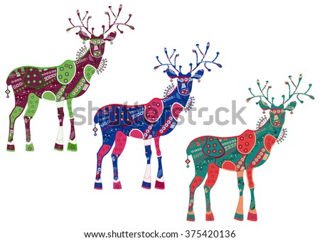 Beautiful patterns of deer drawn to you - stock photo