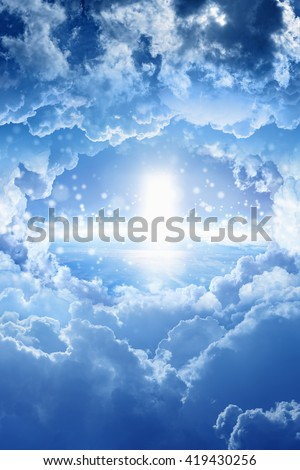 Beautiful peaceful background - light from skies, heaven door. Elements of this image furnished by NASA - stock photo