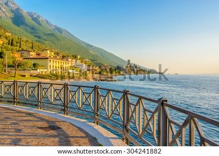 Beautiful peaceful lake Garda, Italy. Sunset. - stock photo