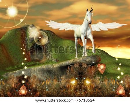 Beautiful pegasus in an enchanted world - stock photo
