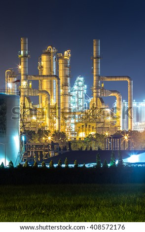Beautiful petrochemical plant and oil refinery at twilight time - stock photo