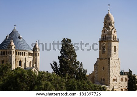 Beautiful photo Abbey of the Dormition  - Jerusalem , Israel . - stock photo