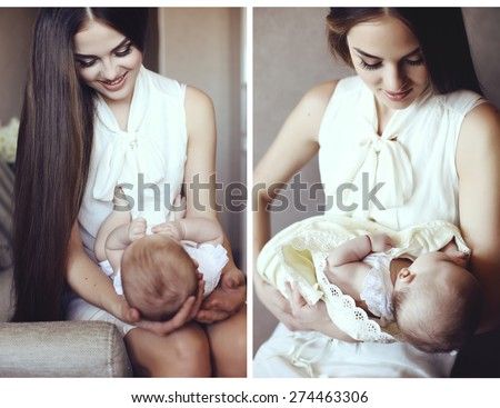 beautiful photo collage of tender photos of mother and her adorable little baby  - stock photo