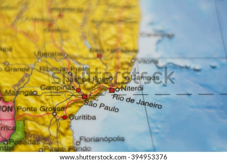 Beautiful photo of a map of Brazil and the capital Rio de janeiro . - stock photo