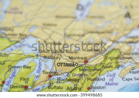 beautiful photo of a map of canada and the capital ottawa