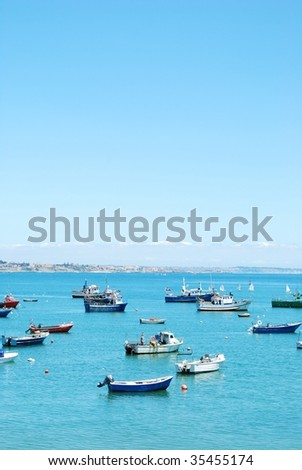 beautiful photo of boats harbor in the port of Cascais, Portugal