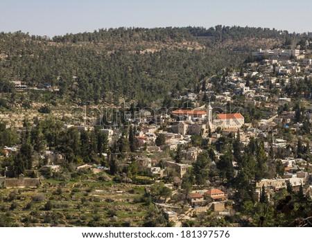 Beautiful photo panorama -  Ein Karem , Jerusalem , Israel. - stock photo