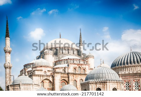 beautiful photography in hdr about old and traditional mosque in Istanbul, Turkey - stock photo