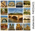 Beautiful photos of the bridge over the Seine river in Paris and other famous places. Collage. - stock photo