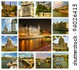 Beautiful photos of the cathedral notre dame, bridges over river Seine and other famous places in Paris . Collage. - stock photo