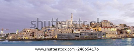 Beautiful photos of the evening Jaffa from the sea. Israel - stock photo