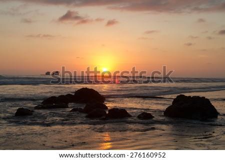 Beautiful picturesque sunset view from Ayampe beach, Manabi, Ecuador - stock photo