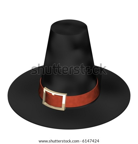 Beautiful pilgrim hat isolated on white - stock photo