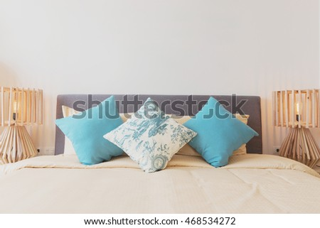 Blue color scheme teenager bedroom colorful stock photo for Beautiful bed decoration