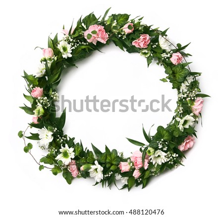 Beautiful pink and white fresh green flower arrangement wreath isolated